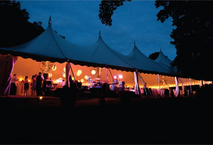 Pole Tent with Lantern Lighting