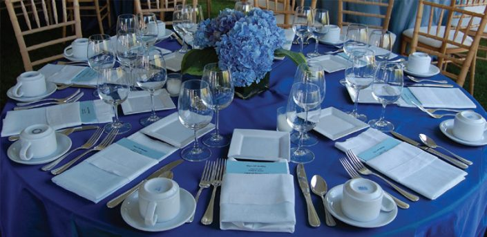 Blue Wedding Dinner Table